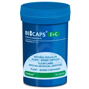 Bicaps Vitamin E + C Dietary Vegan Vegetarian Friendly Food Supplement 60 Caps